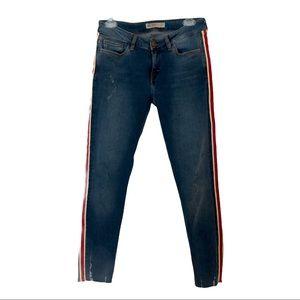 Zara 1975 Denim Red Striped Frayed Skinny Jeans 6